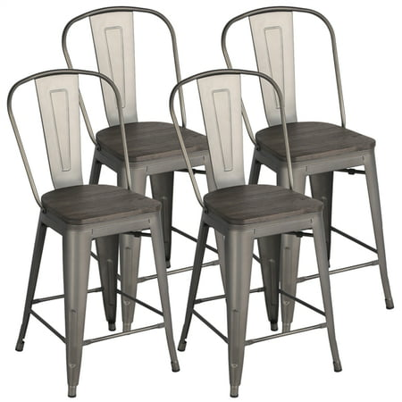 Yaheetech Metal Dining Chairs with Beech Wood Seat & Backrest Stackable Side Chairs Classic Chic Bar Stools for Trattoria/Bistro/Cafe/Shop/Kitchen(4pcs) Cafe Aluminum Bar Stool