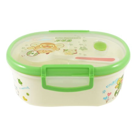 Unique Bargains Students Cartoon Print Dual Layers Lunch Box Food Holder Container Pale Green