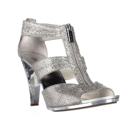 - Womens MICHAEL Michael Kors Berkley T-Strap Dress Sandals, Silver Glitter, 8.5 US