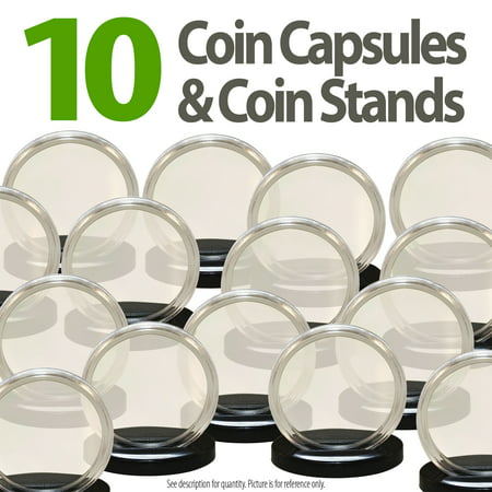 10 Coin Capsules & 10 Coin Stands for 1oz SILVER or COPPER ROUNDS Airtight 39mm (Copper Strand)