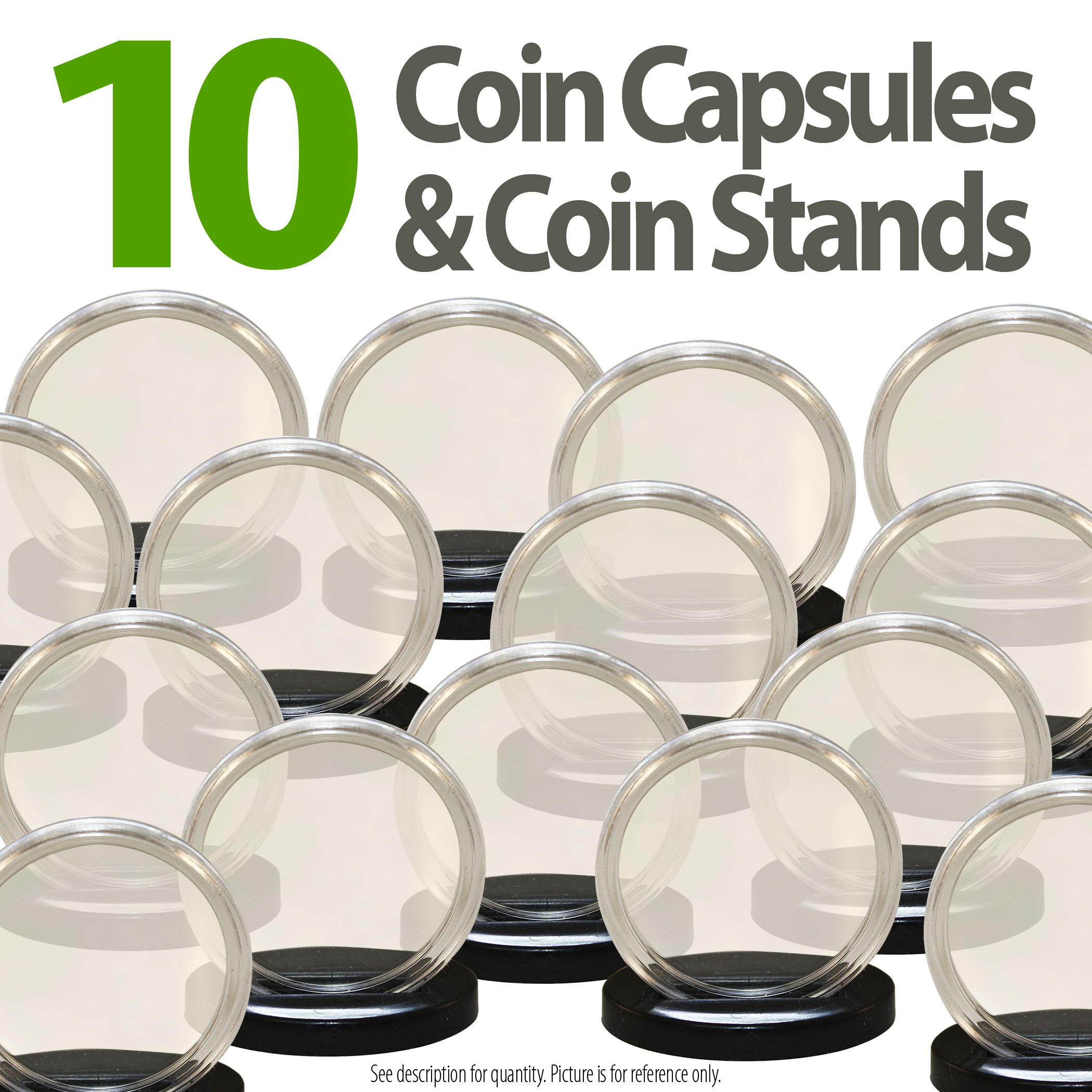 10 Coin Capsules & 10 Coin Stands for MORGAN / PEACE / IKE DOLLARS Airtight 38mm