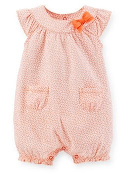 coral baby bubble Light coral floral romper