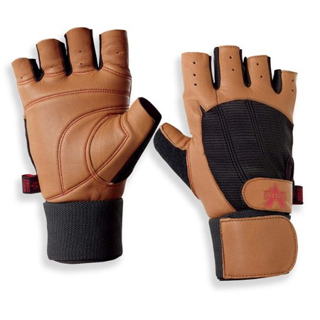 Valeo Ocelot Wrist Wrap Tan Weight Lifting Gloves With Built In