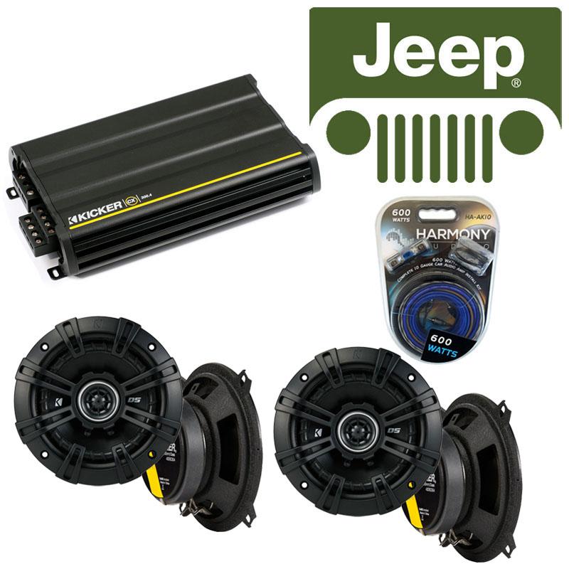 Fits Jeep Cherokee 1984-1987 Speaker Replacement Kicker (2) DSC5 & CX300.4 Amp Factory Certified Refurbished by Kicker