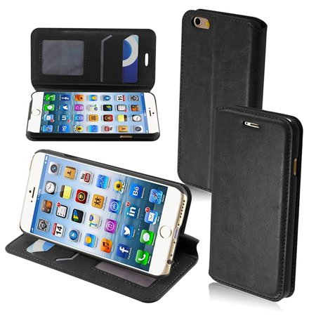 Insten For Apple iPhone 6/6S Black PU Leather Fabric Case W/Stand with Card Holder Slot Black Fabric Case