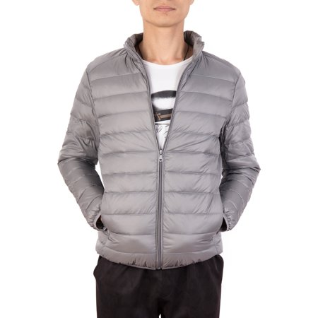 SAYFUT Men Packable Down Jacket Winter Light Down Casual Warm Sports Ski Puffer Bubble Coat Jackets Outwear Gray