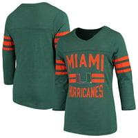 Miami Hurricanes Girls Youth Field Day Three-Quarter Sleeve V-Neck T-Shirt - Heathered Green