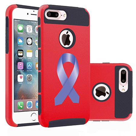 Red Awareness Ribbon (For Apple (iPhone 8 Plus) Shockproof Impact Hard Soft Case Cover Stomach Cancer Color Awareness Ribbon)