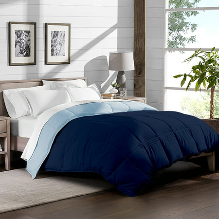 Bare Home Ultra-Soft Premium 1800 Series Goose Down Alternative Reversible Comforter - Hypoallergenic - All Season - Plush Fiberfill (Full/Queen, Dark Blue/Light
