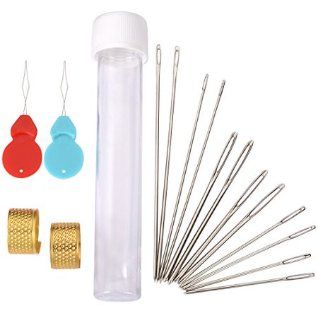 Outus Large Eye Blunt Needles Steel Yarn Sewing Needles Kit With Needle Threaders And Thimbles  5 Sizes  16 Pieces
