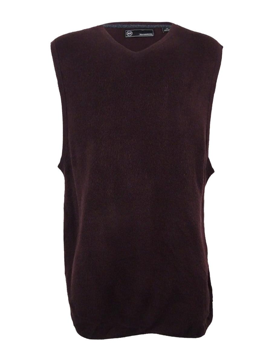 Weatherproof Vintage Men's Big and Tall Sweater Vest (LT, Bordeaux)