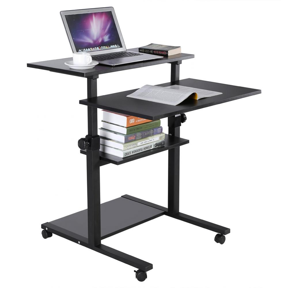EECOO Mobile Stand Up Desk Computer Workstation Desk Adjustable Height Rolling Presentation Cart (Black)