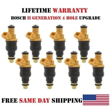 - x8 OEM Bosch II 4 Hole Upgrade Fuel Injectors for 1993-1999 Ford F-250 4.6L/5.0L/5.4L/5.8L V8 (Refurbished)