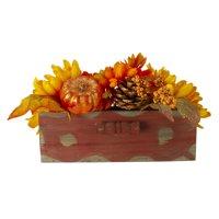"14"" Autumn Harvest Maple Leaf and Berry Arrangement in Rustic Wooden Box Centerpiece"
