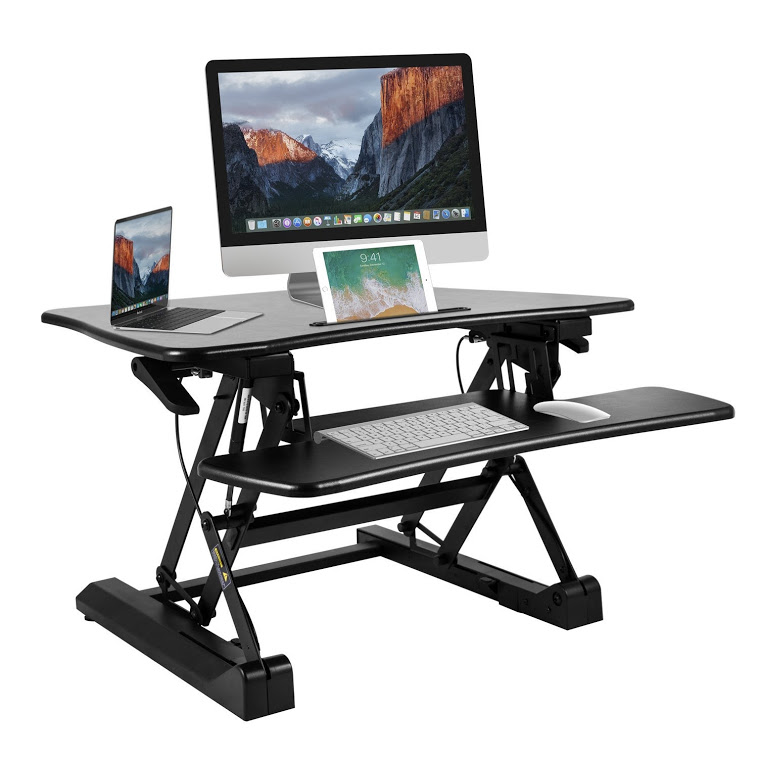BESTEK Height Adjustable Standing Desk Stand Up Desk Converter Monitor Riser with keyboard Tray,Lift Sit-Stand Desktop Workstation from 5.9-19.7 inch