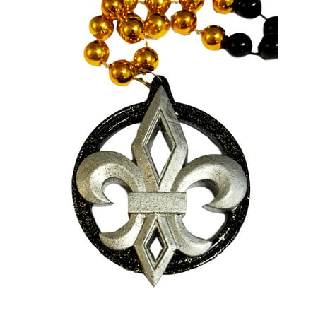 Silver Black Gold Fleur De Lis Mardi Gras Beads Party Favor](Black And Gold Mardi Gras Beads)