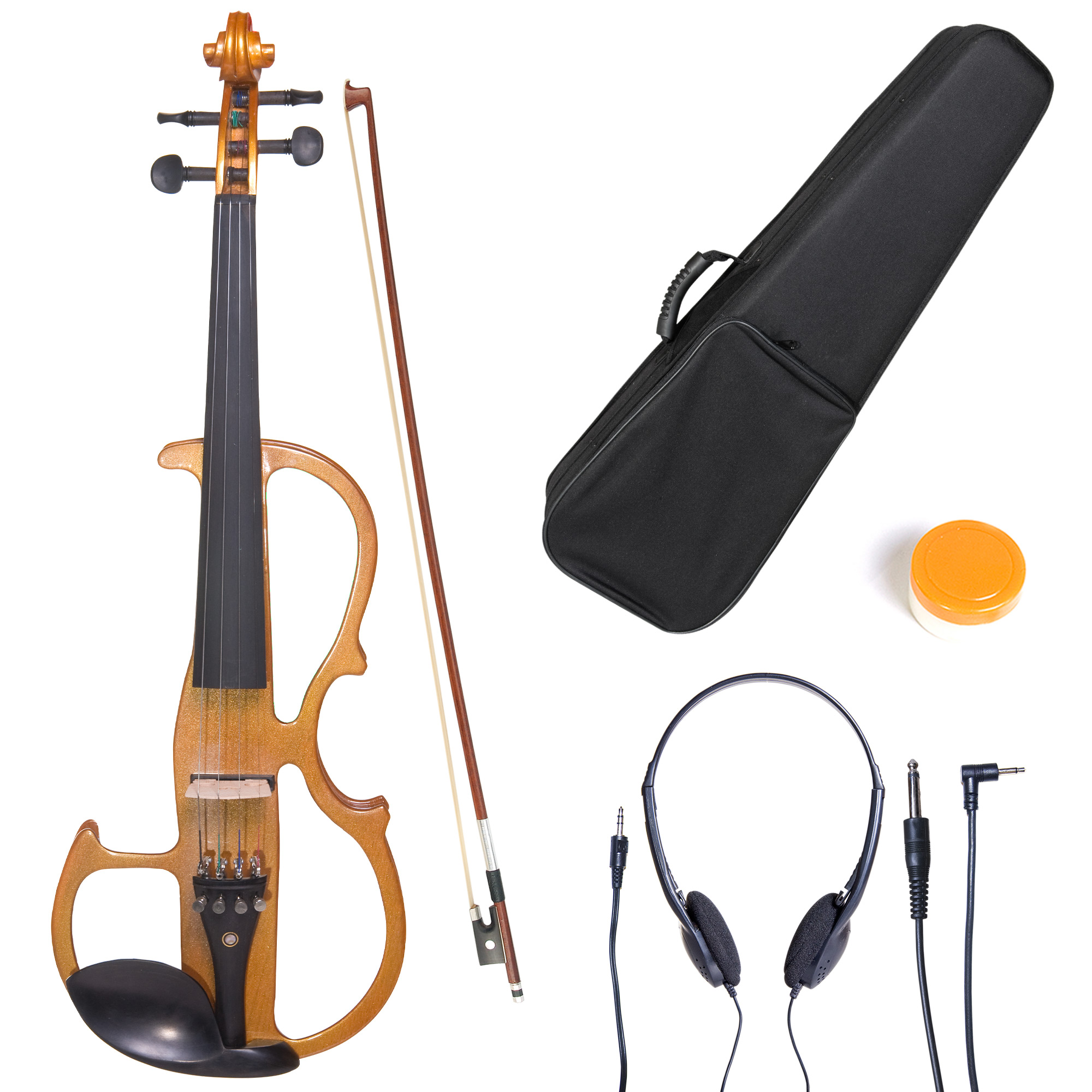 Cecilio Size 3/4 CEVN-2Y Solidwood Metallic Yellow Maple Electric/Silent Violin with Ebony Fittings