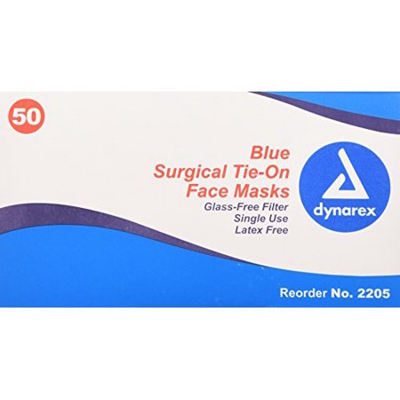 Masks 5 Free 50 Per Latex Surgical Blue Box Pack Dynarex Ties With Filtered Face