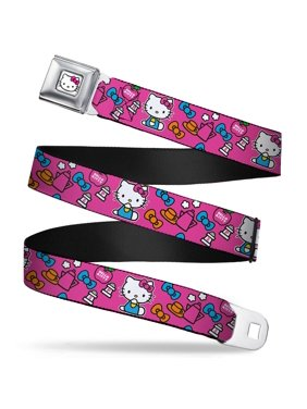 f47046a9d Product Image Hello Kitty Face W Pink Bow Full Color White Hello Kitty  Sitting Poses Bows Seatbelt Belt