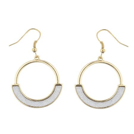 Lux Accessories goldtone Sticker Glitter Open Half Circle Geo Dangle Earrings