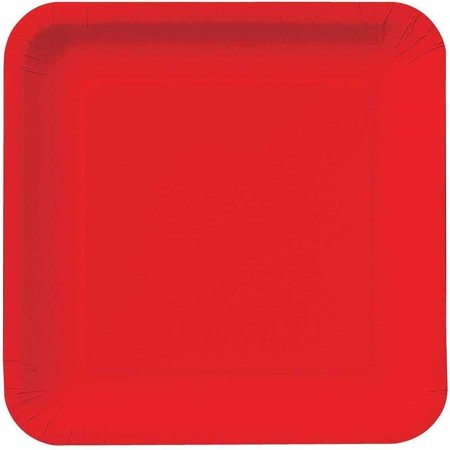 Red Square Plates (Classic Red Square Dessert Plates, Pack of)