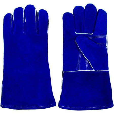 Stalwart 100 Percent Leather Premium Welding Gloves, Blue