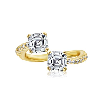 Nicole Miller New York Yellow & Platinum Plated Brass Asscher Crossover Ring, Size 8