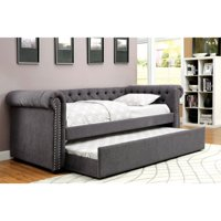 Furniture of America Trisha Contemporary Tufted Linen-Like Fabric Daybed with Trundle
