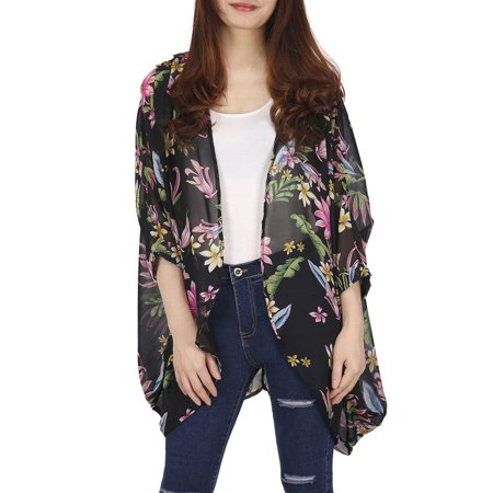 HDE Womens Sheer Chiffon Cardigan Loose Summer Cover up Kimono Boho Half Sleeves (Black Floral, Large)