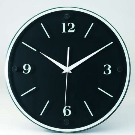 """Tempus 12"""" Wall Clock with Black Wood Frame and Daylight Saving Time Auto-Adjust Movement"""