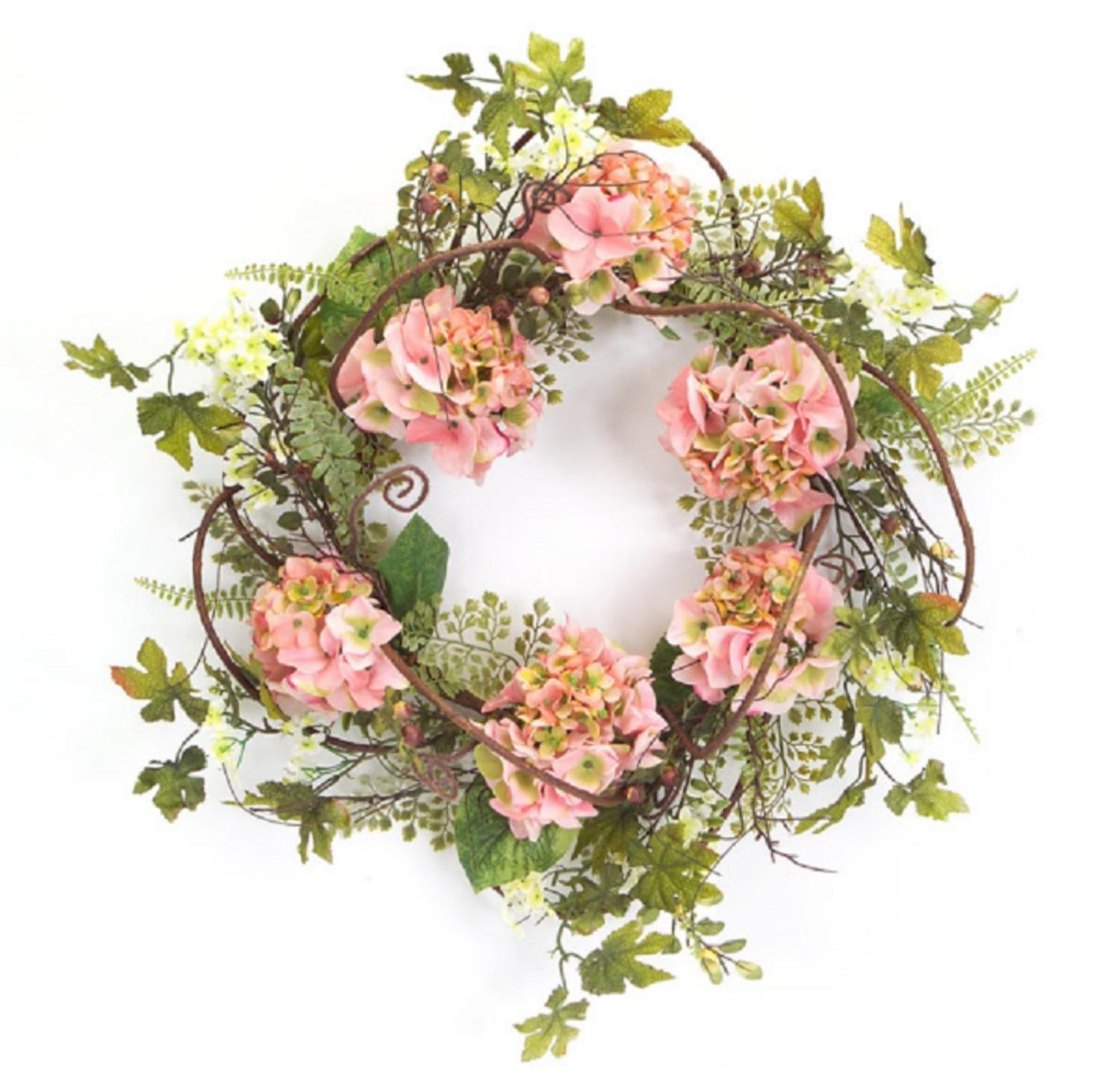 Pack of 2 Decorative Artificial Light Pink Hydrangea Wreaths 20""