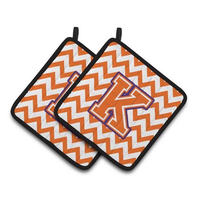 Carolines Treasures CJ1062-KPTHD Letter K Chevron Orange & Regalia Pair of Pot Holders, 7.5 x 3 x 7.5 in. - image 1 of 1