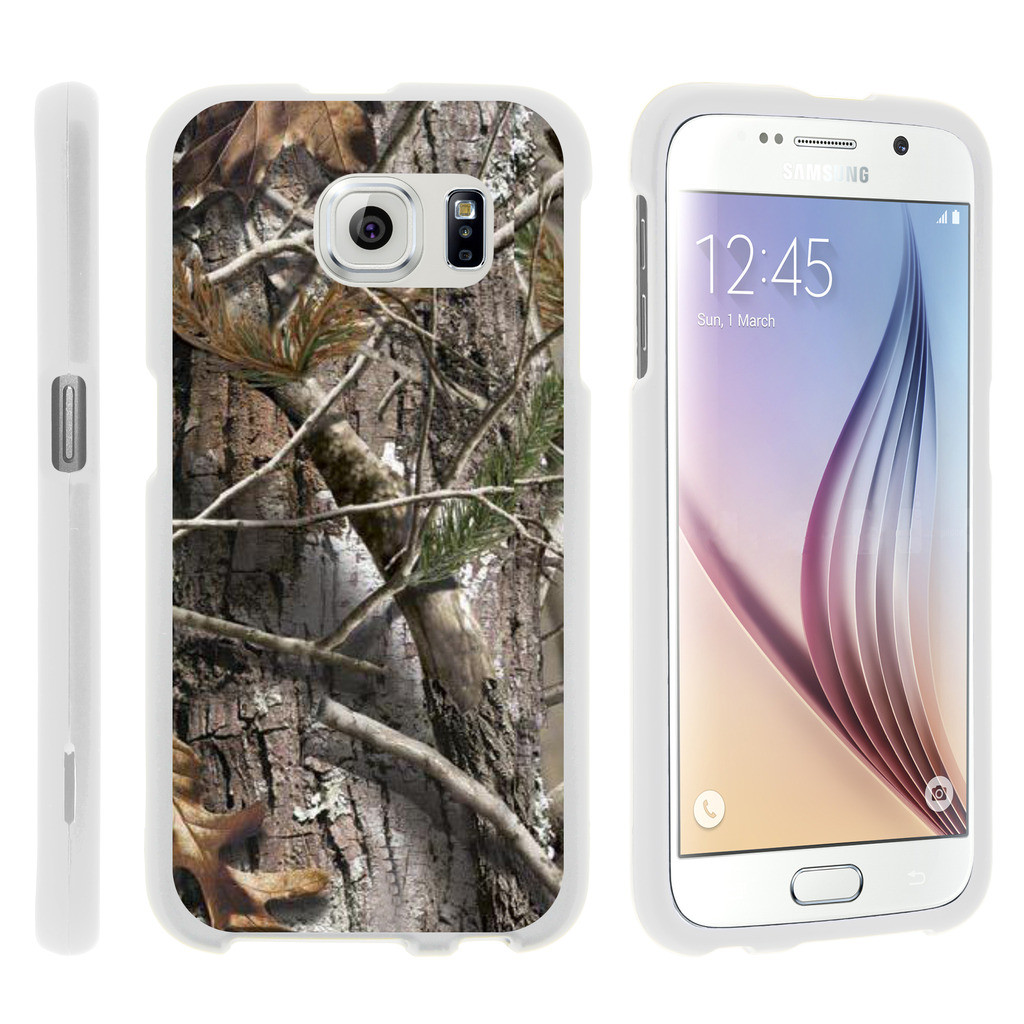Samsung Galaxy S6 Edge G925, [SNAP SHELL][White] Hard White Plastic Case with Non Slip Matte Coating with Custom Designs - Tree Bark Hunter Camouflage