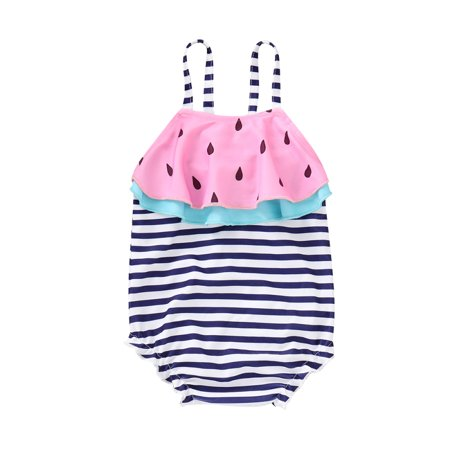 Baby Kids Girl Stripe Watermelon Swimsuit Swimwear Ruffle Bikini Bathing