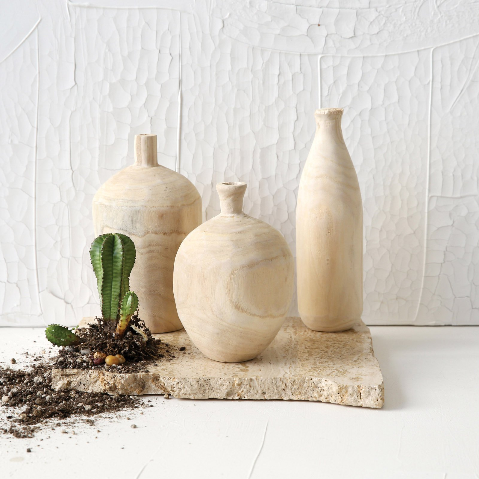 3R Studios Paulownia Wood Vases - Set of 3