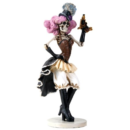 Steampunk Pink Haired Female Skeleton Gunslinger Halloween Figurine - Halloween Skeleton Hair