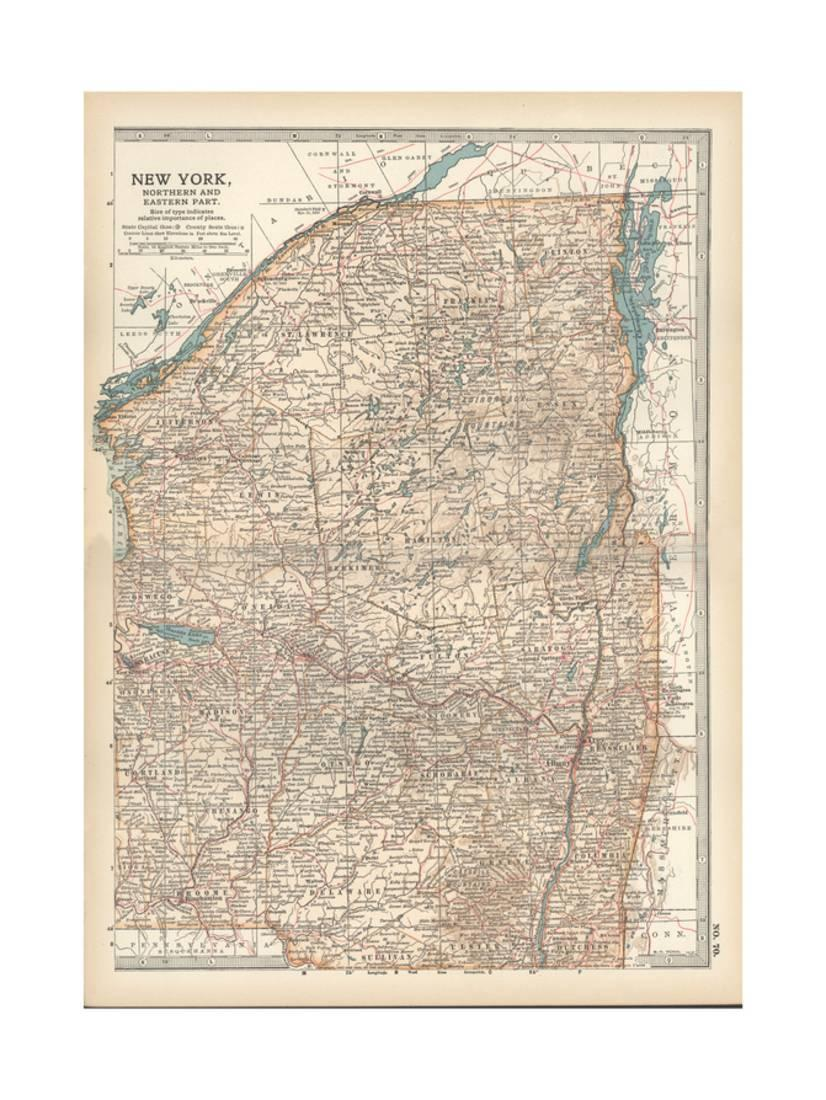 photograph relating to Printable Maps of New York State referred to as Map of Fresh York Nation, Northern and Japanese Sections. United Claims Print Wall Artwork By means of Encyclopaedia Britannica -