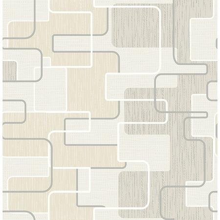Brewster Geometric Khaki Balise Wallpaper