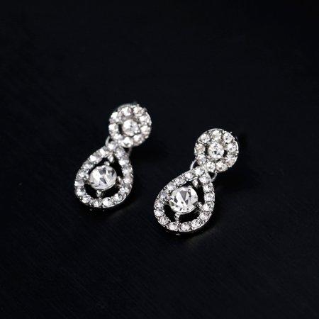 Women Girls Jewelry Set Fashion Heart Sharp Pendant Rhinestone Necklace + Earrings Valentine's Day Gift - image 7 of 8