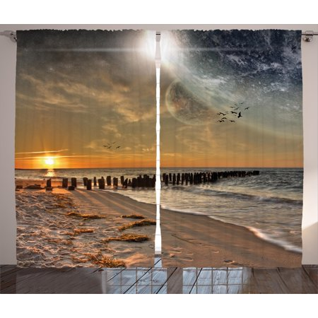 Space Curtains 2 Panels Set, Magical Solar Eclipse on Beach Ocean with Horizon Sun Moon Globe Gulls Flying View, Window Drapes for Living Room Bedroom, 108W X 84L Inches, Cream Orange, by