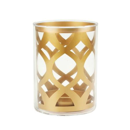 Gold Pillar - Better Homes and Gardens Medium Gold Glass and Metal Ogee Pillar Holder
