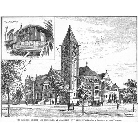 Carnegie Library 1890 Nthe Carnegie Library And Music Hall At Allegheny City Pennsylvania Line Engraving American 1890 Rolled Canvas Art     18 X 24