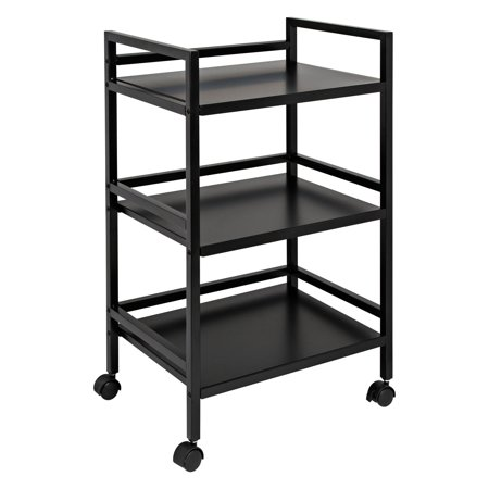 Honey Can Do 3-Tier Steel Rolling Cart with 2 Locking Wheels, (2 Door Rolling Cart)