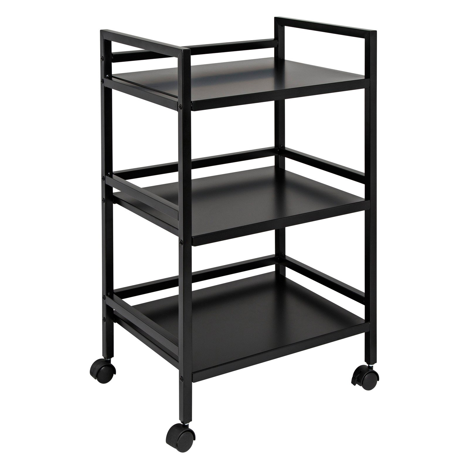 Honey Can Do 3-Tier Steel Rolling Cart with 2 Locking Wheels, Multicolor