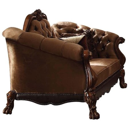Acme Dresden Loveseat with 5 Pillow in Golden Brown Velvet and Cherry Oak 52096