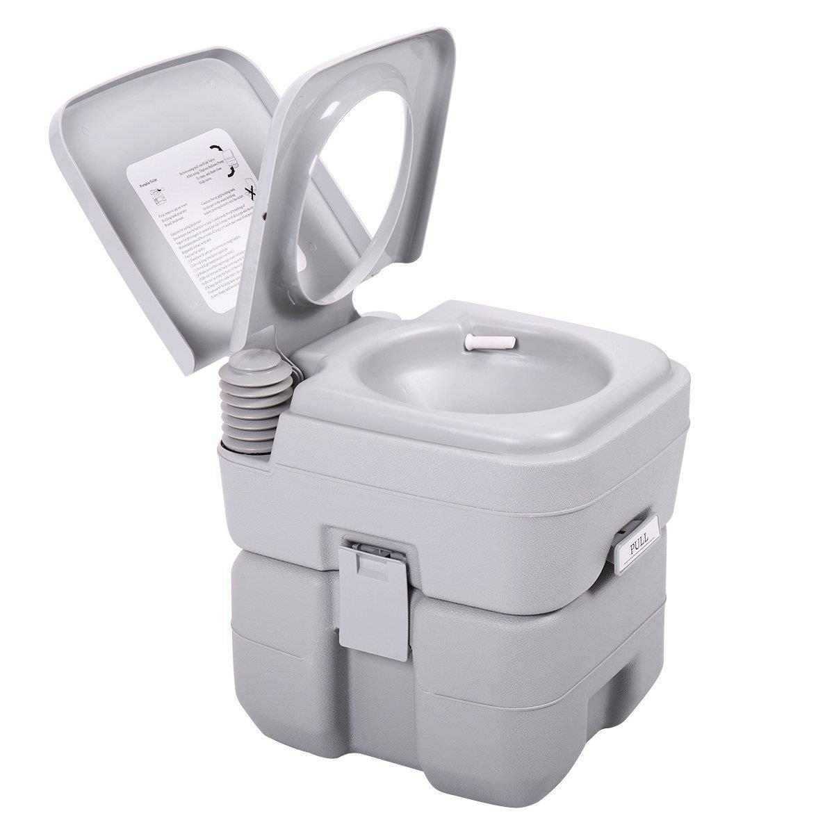 Ktaxon Portable Camping Toilet, 5 Gallon Capacity Leak Proof Compact Porta Potty, up to 50 Flushes, Great for Travel, Camping, RV, Boating,Hiking & Other Outdoor or Indoor Activites