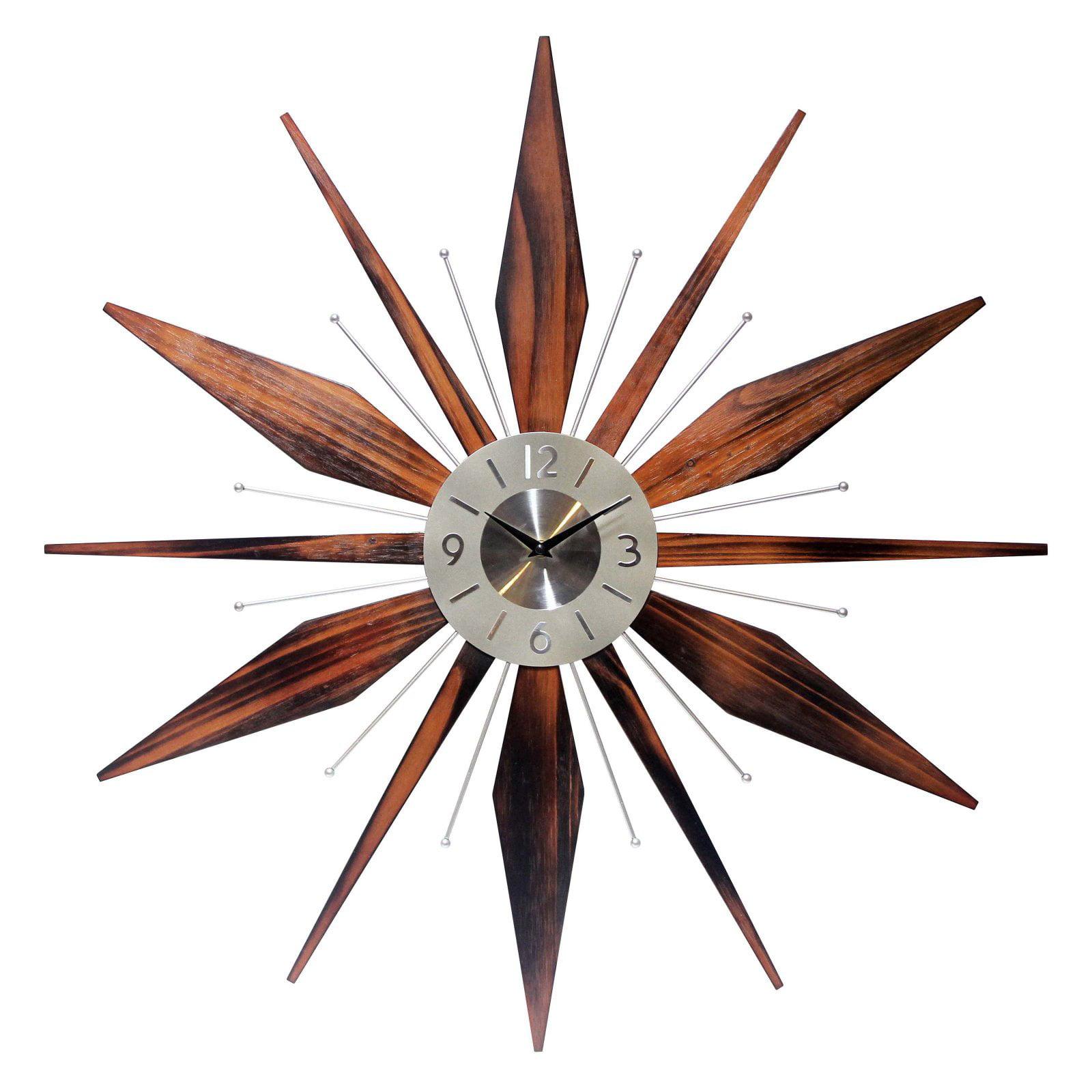Details About Starburst Wall Clock Mid Century Og Metal Wood Retro Vintage Home W