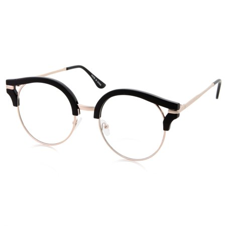 Womens Trendy Round Cat Eye Metal Clear Black (Trendy Glasses For Men)