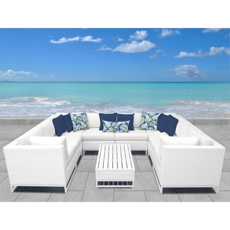 TK Classics Miami Wicker 9 Piece Low-Back Sectional Patio Conversation Set ()