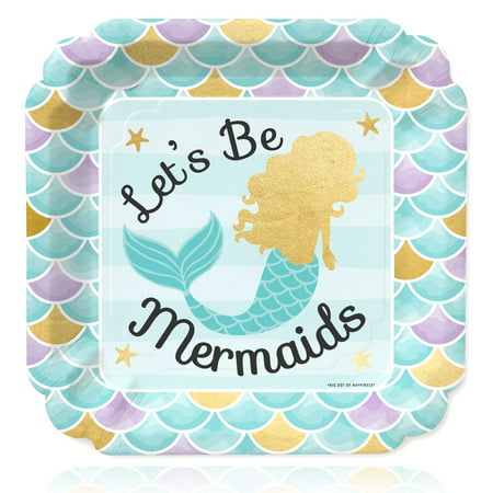 Let's Be Mermaids with Gold Foil - Baby Shower or Birthday Party Dinner Plates (16 Count) - Little Mermaid Birthday Plates